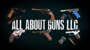 all about guns logo with guns around